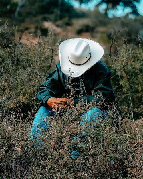 Person in Blue Denim Jeans and White Cowboy Hat Sitting on Brown Grass Field