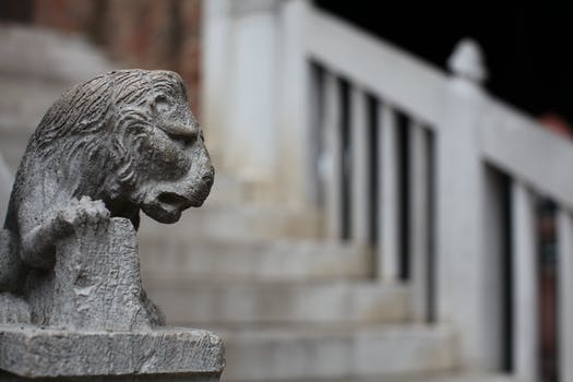 Selective Focus Photography of Gray Concrete Lion Head Stairs Decoration at Daytime