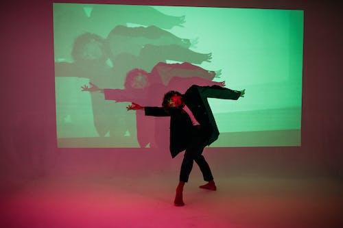 Man Dancing in Black Coat and Black Pants