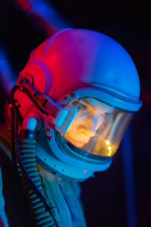 Woman In Blue Space Suit