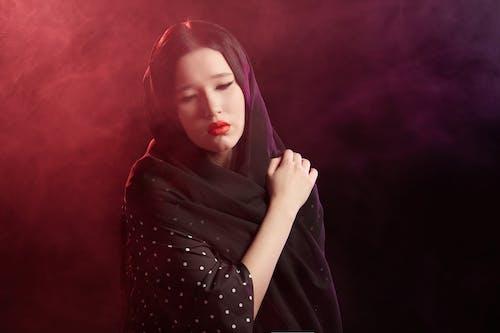 Sad Woman in Black Veil
