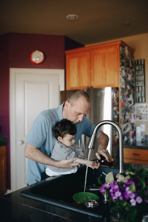 Father And Child Doing Hand Washing