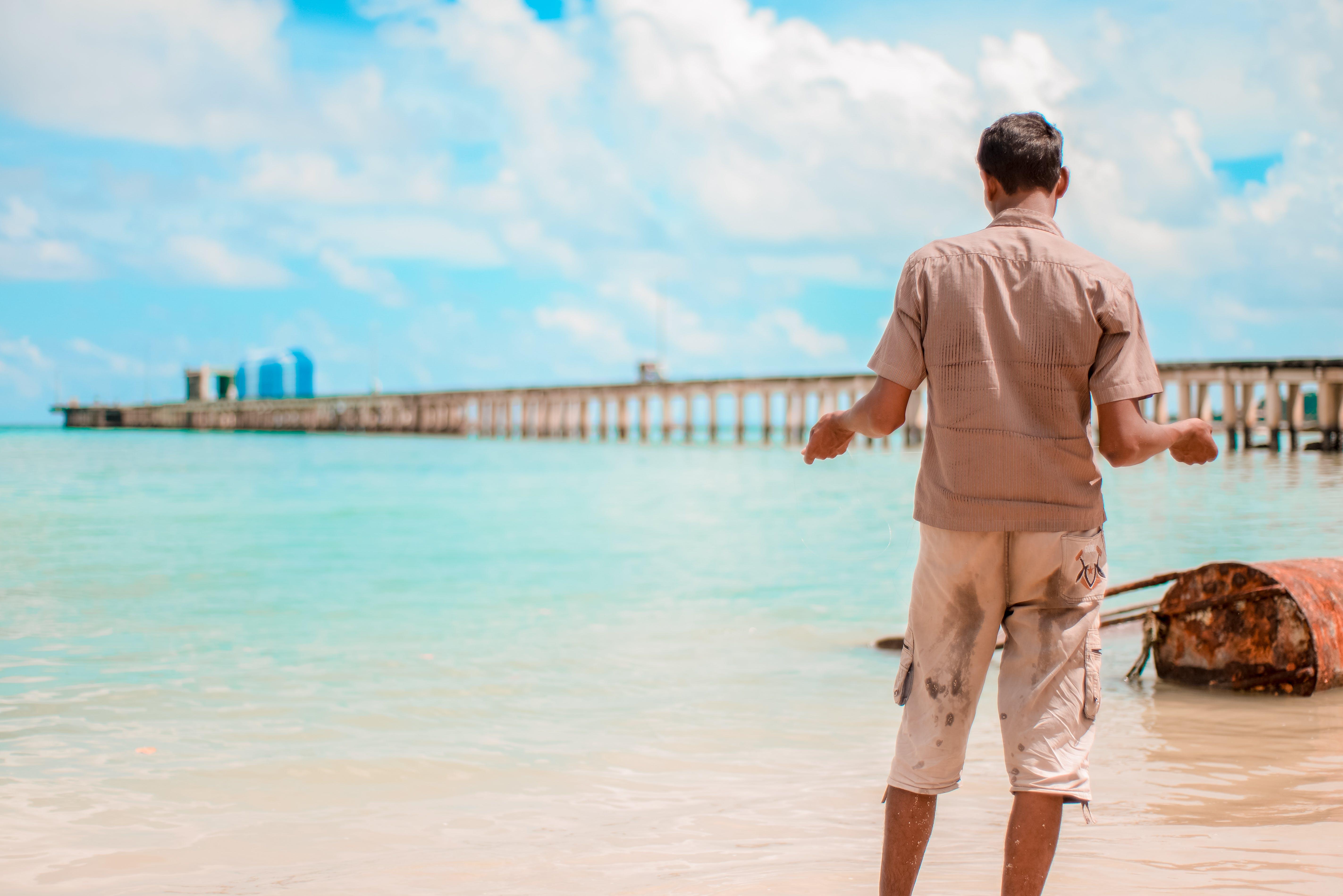 Free stock photo of beach, clouds, fishing, line fishing