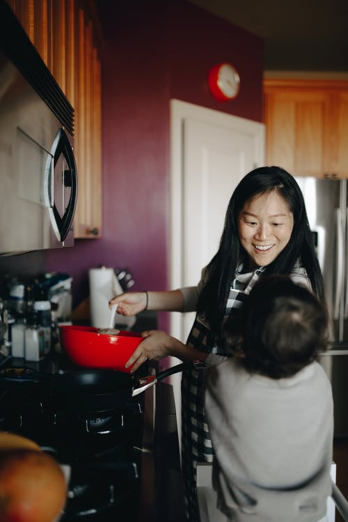 Mother Cooking In The Kitchen With Her Child