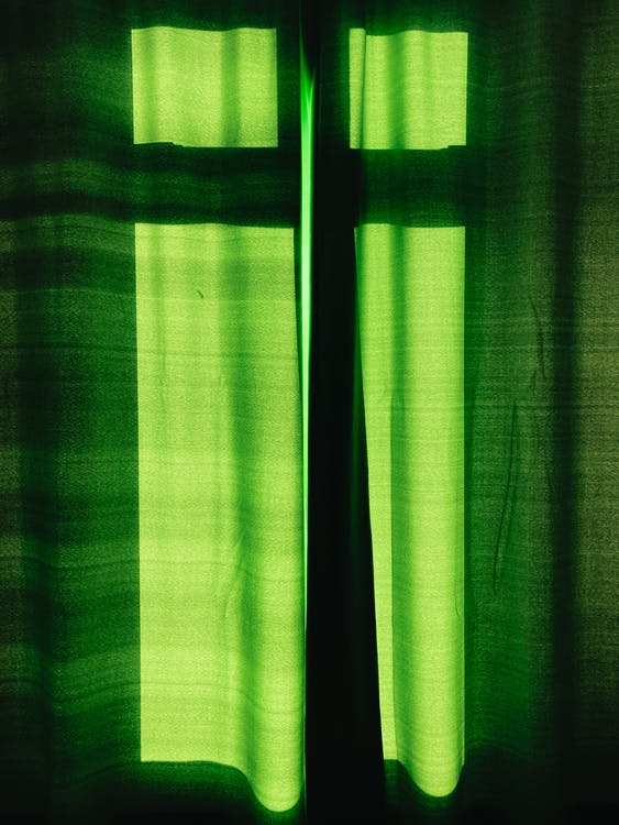 Green and White Striped Window Curtain