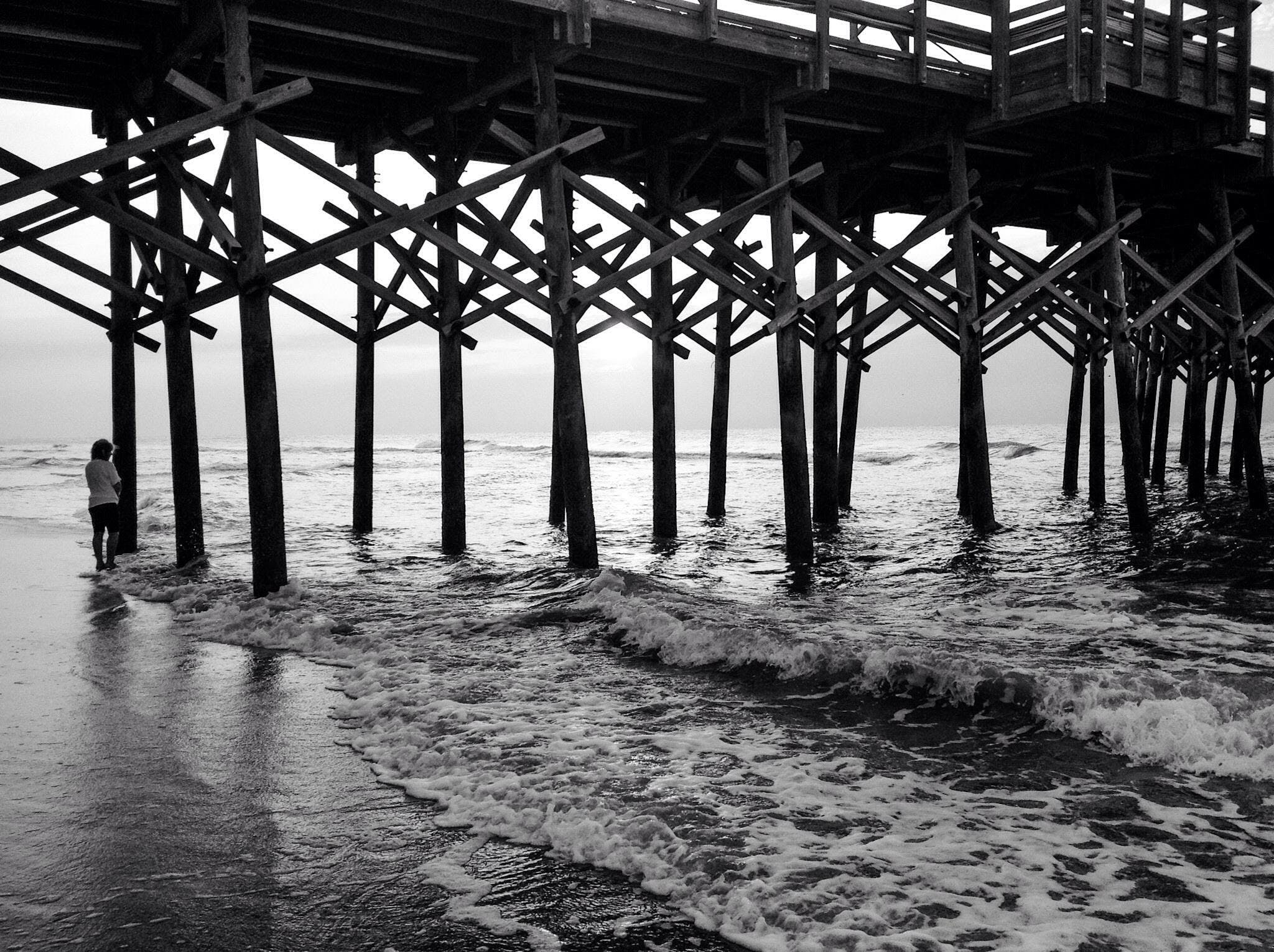 Free stock photo of beach, black and white, coast, pier
