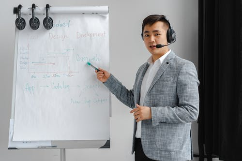 Man in Gray Suit Working as a Call Center Agent