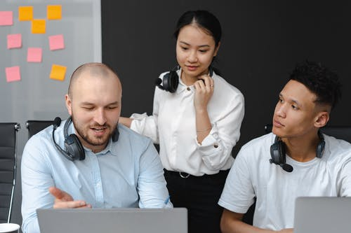 People Working in a Call Center Office