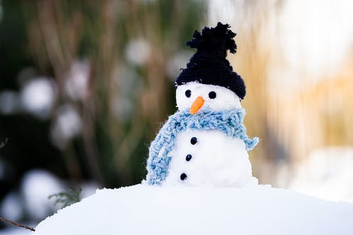 Snowman With Black Knit Cap on Snow Covered Ground