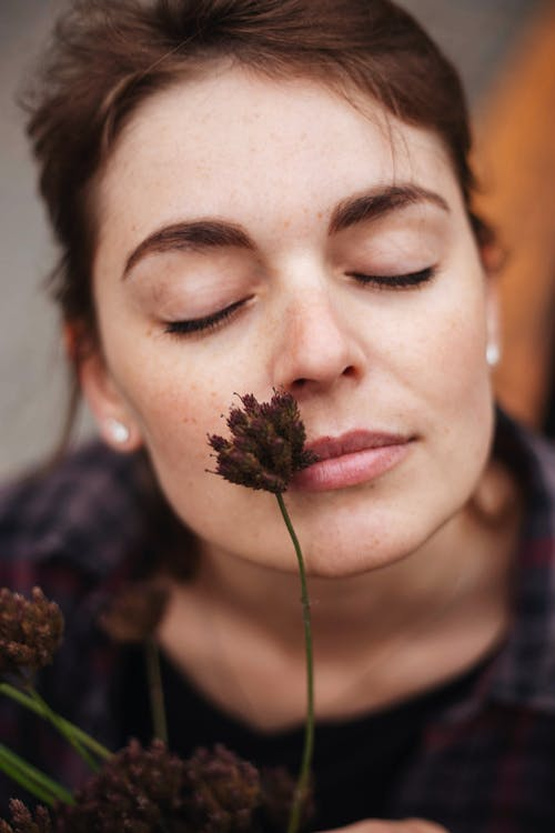 Thoughtful young lady with freckles and closed eyes with dark plants with fluffy inflorescence on face in daylight