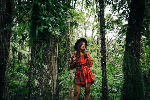 A Woman in Red Dress Standing in the Middle of the Rainforest