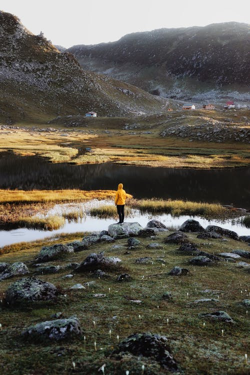 Anonymous hiker admiring nature in wild mountainous valley