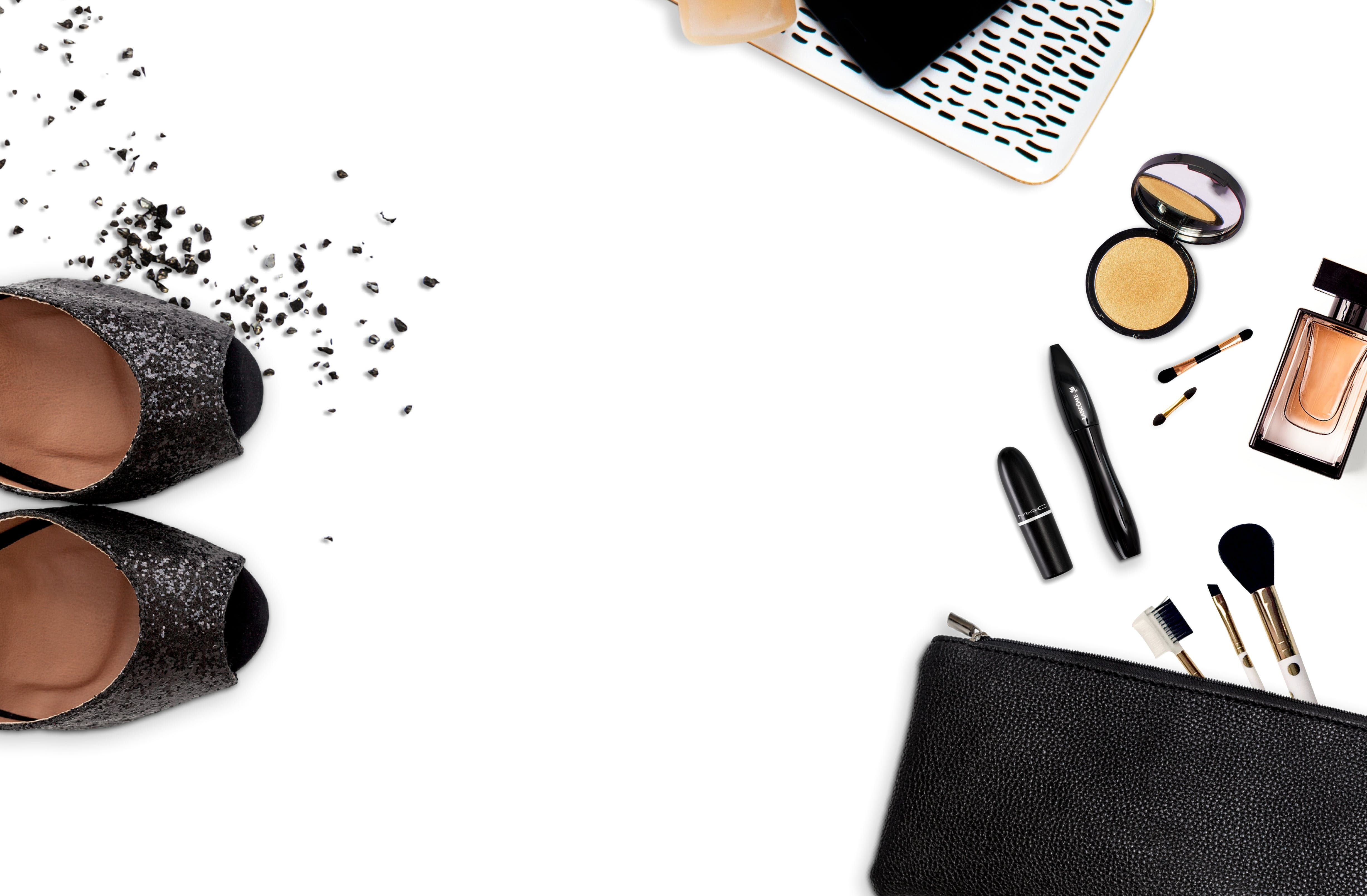 Women's Assorted Makeups and Black Glittered Pumps