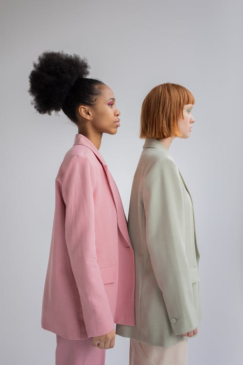 Diverse women in stylish oversize blazers
