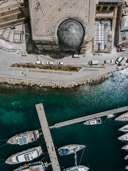 Aerial View of Dock Near a Buildings
