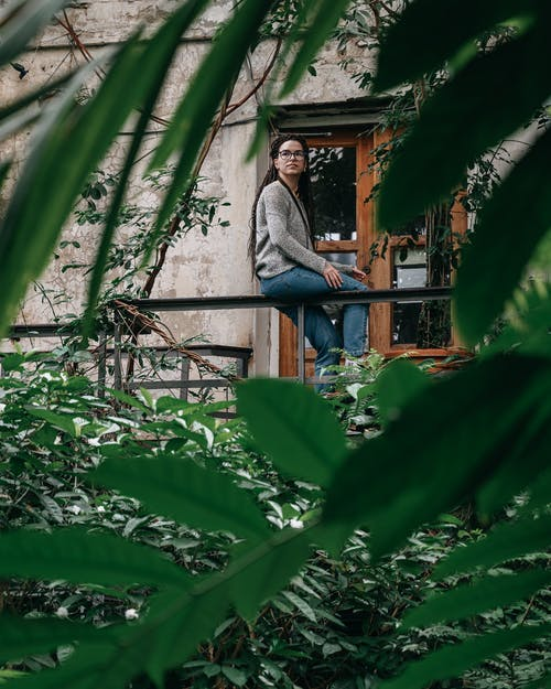 Through green leaves of plant view on thoughtful female in casual clothes sitting on metal railing on balcony in daytime
