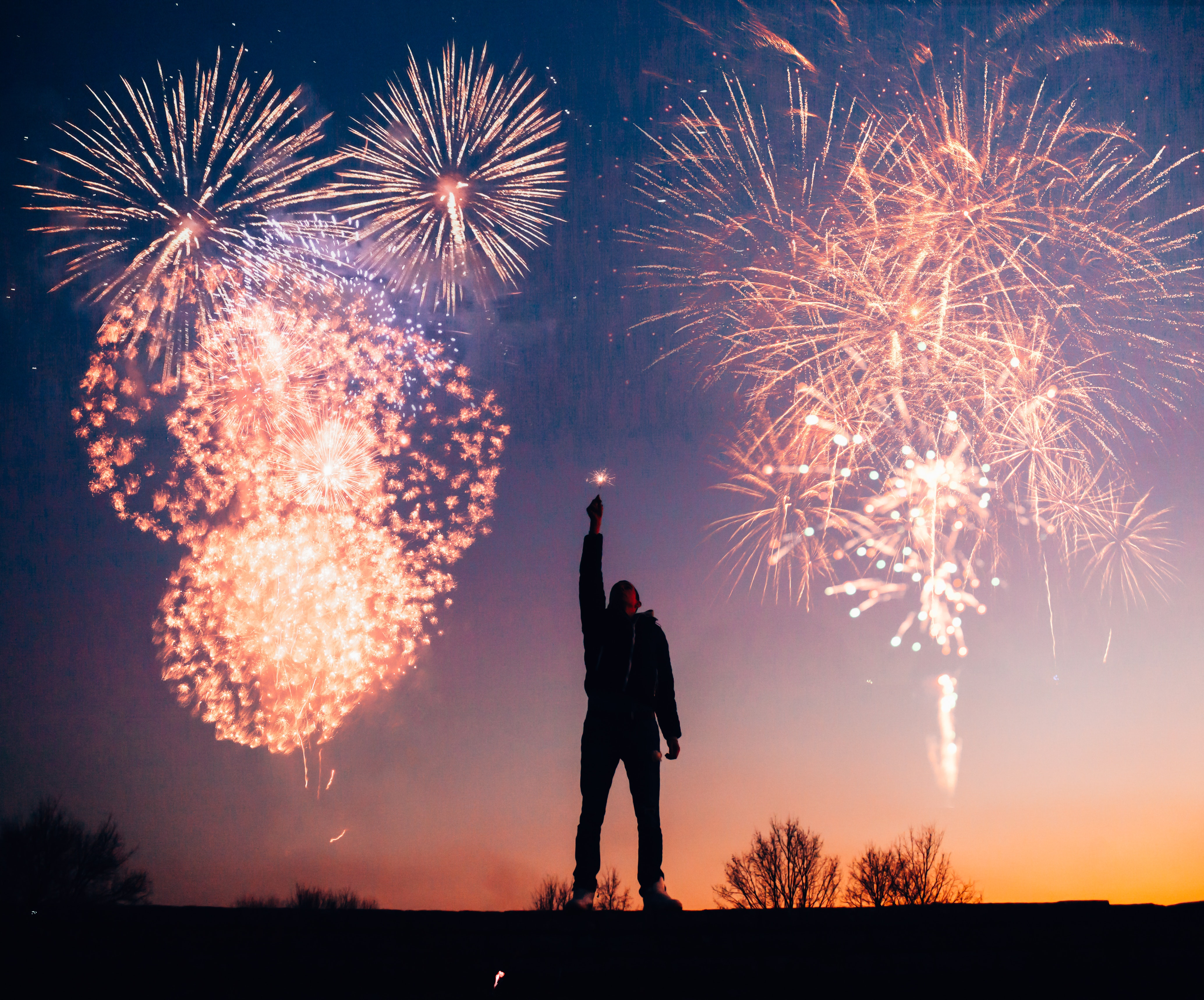 man with fireworks free stock photo