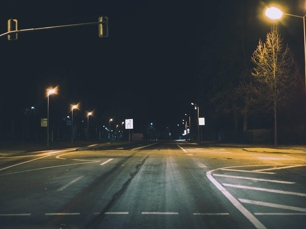 交通標誌, 光迹, 晚上