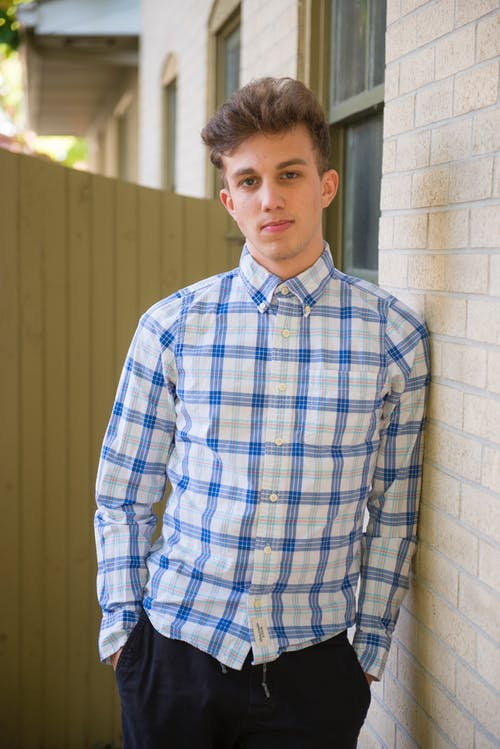 Man In White And Blue Plaid Dress Shirt