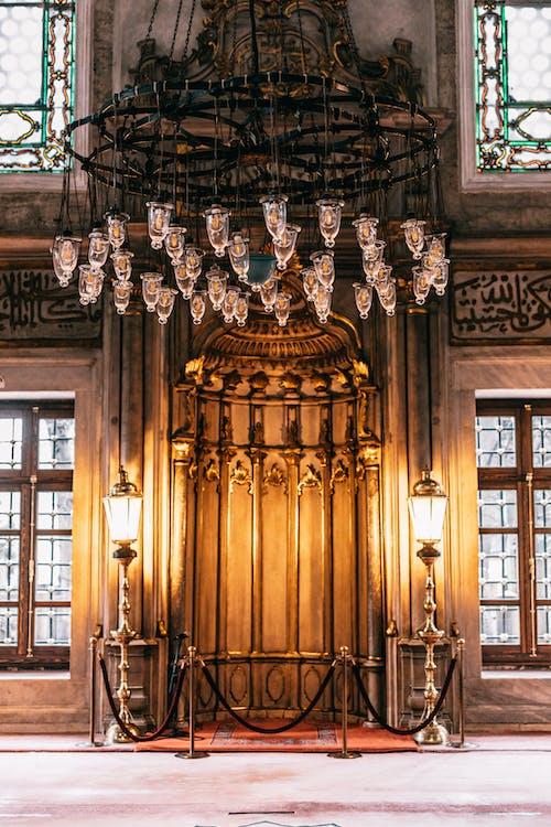 Chandelier on a Medieval Design Hall