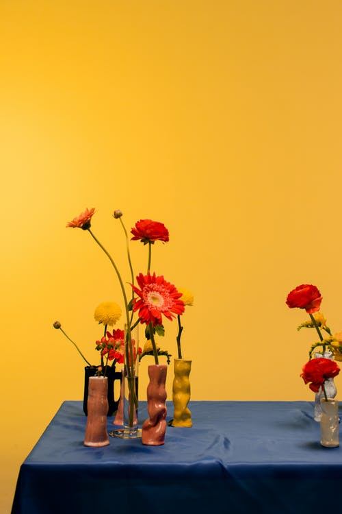 Red and Yellow Flowers on Brown Wooden Table