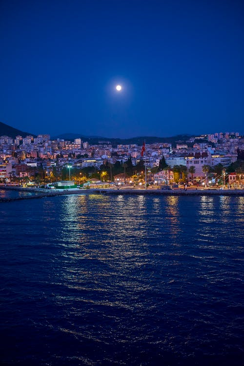 Free stock photo of full moon, glow, kusadasi, mediterranean