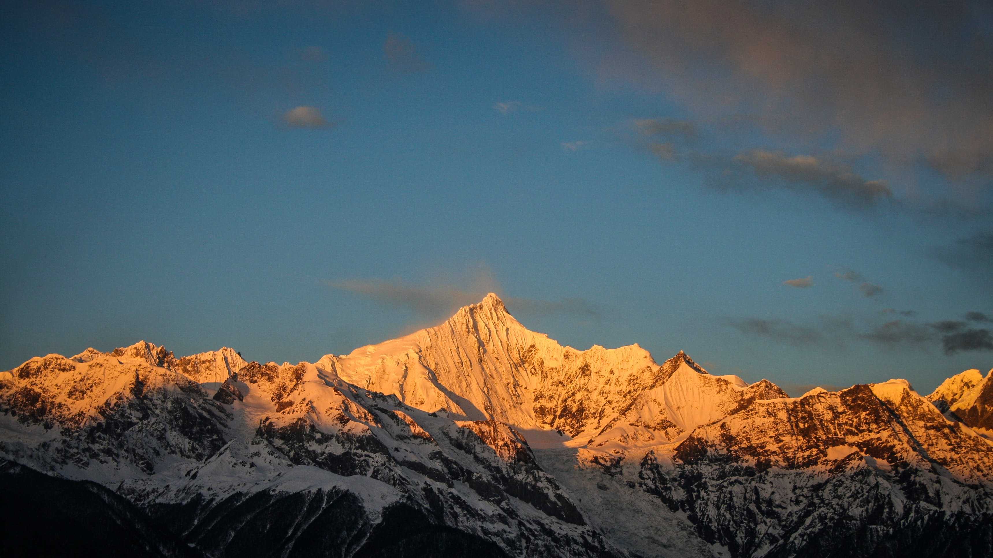 Snowy Mountain during Golden Hour