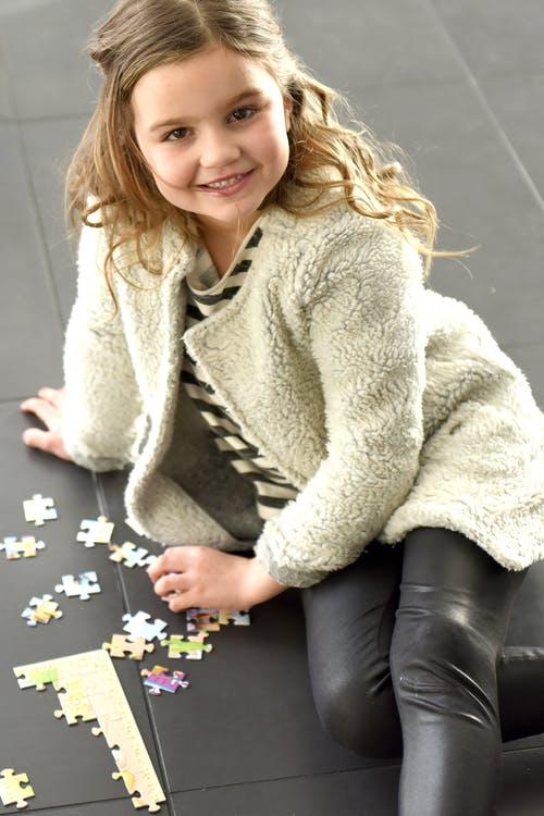 Free stock photo of jigsaw puzzle, on the ground, young girl