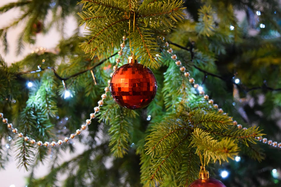 Red Baubels Hang on the Christmas Tree