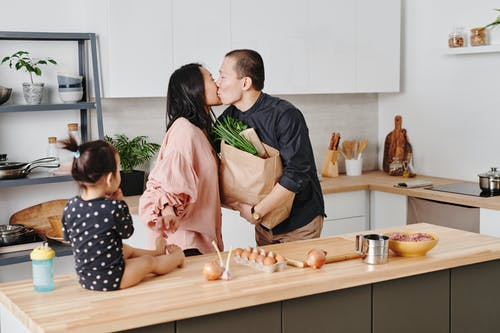 Asian Family In the Kitchen