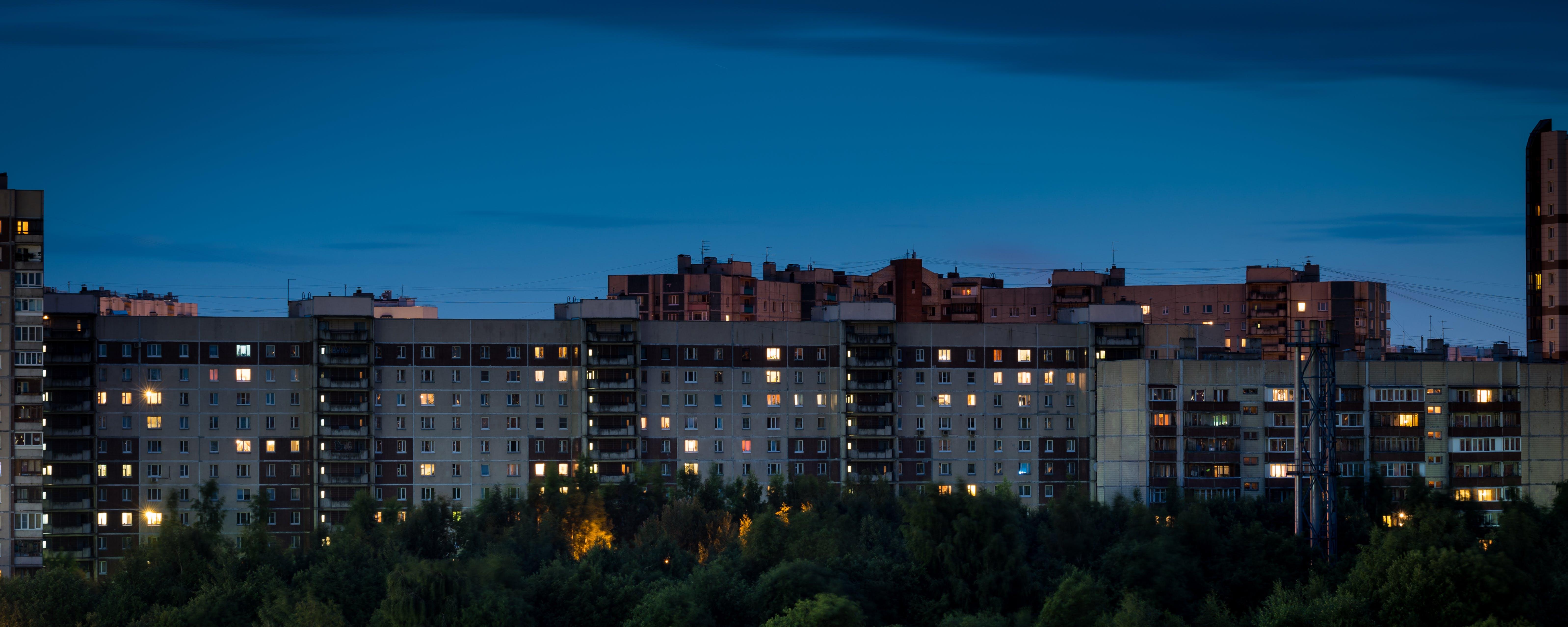 Free stock photo of evening, houses, landscape, windows