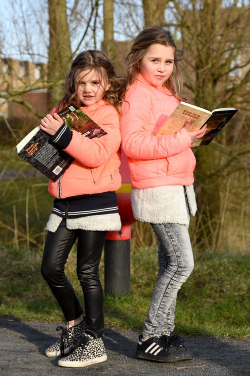 Free stock photo of book reading, girls, outside