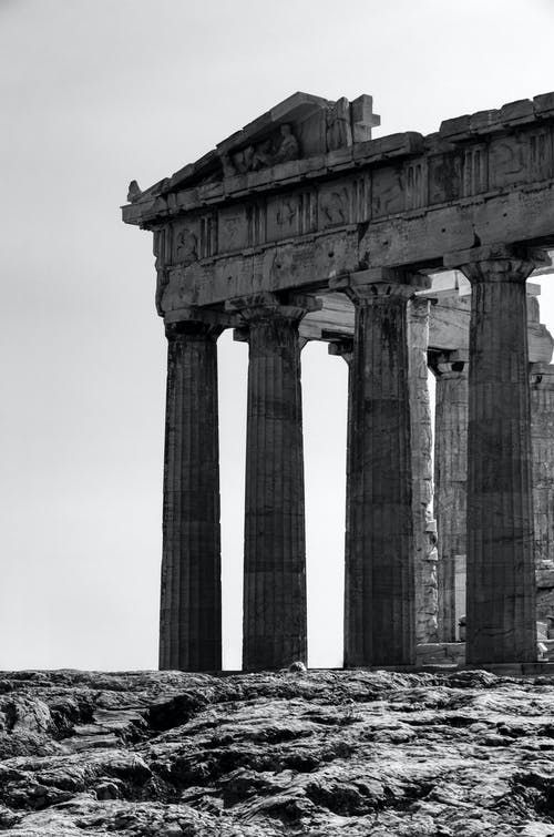 Grayscale Photo of Parthenon in Athens