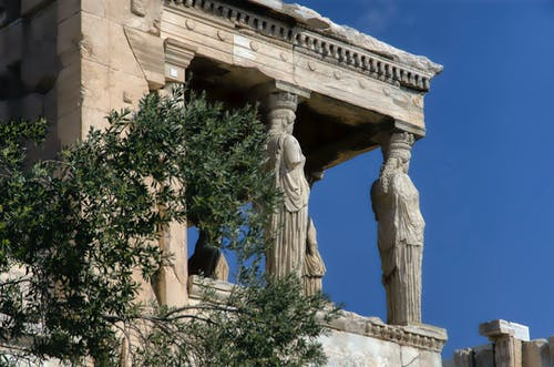 The Exteriors of Caryatid Porch in Acropolis of Athens
