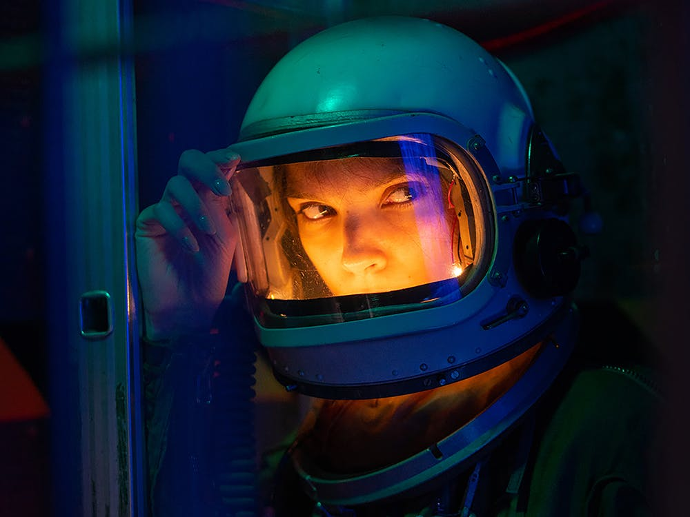 Woman Wearing Blue Helmet