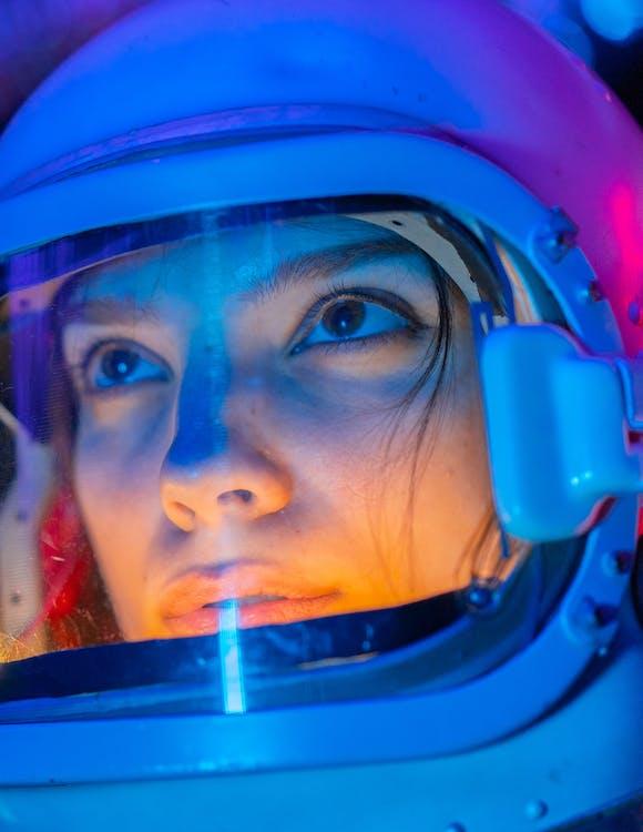 Woman in Blue Helmet