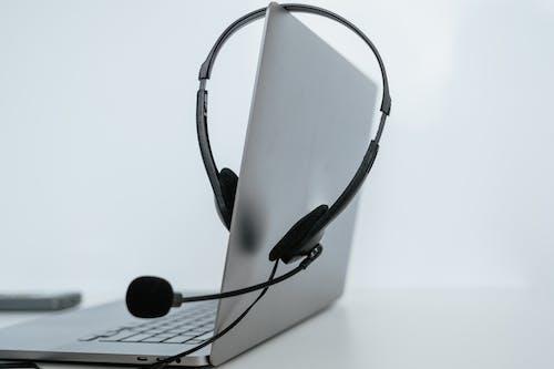 A Headset on a Laptop