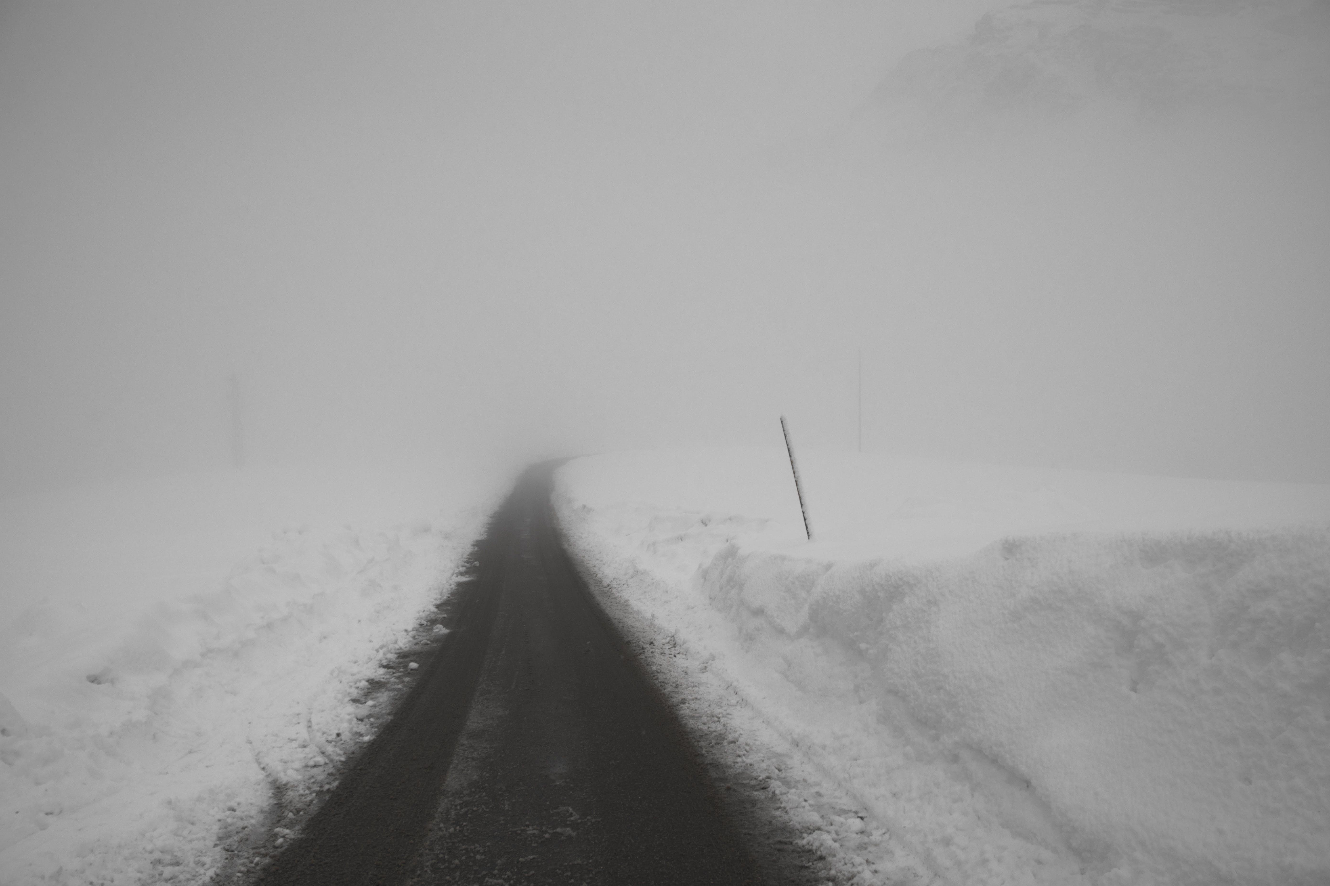 Free stock photo of snow, road, winter, fog