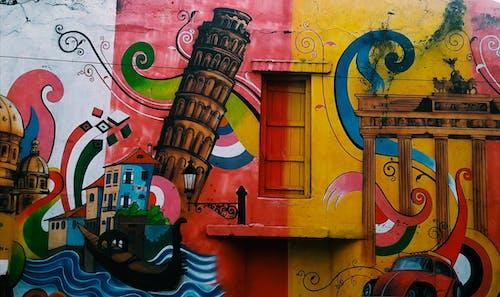 artistik, boyama, duvar, duvar resmi içeren Ücretsiz stok fotoğraf