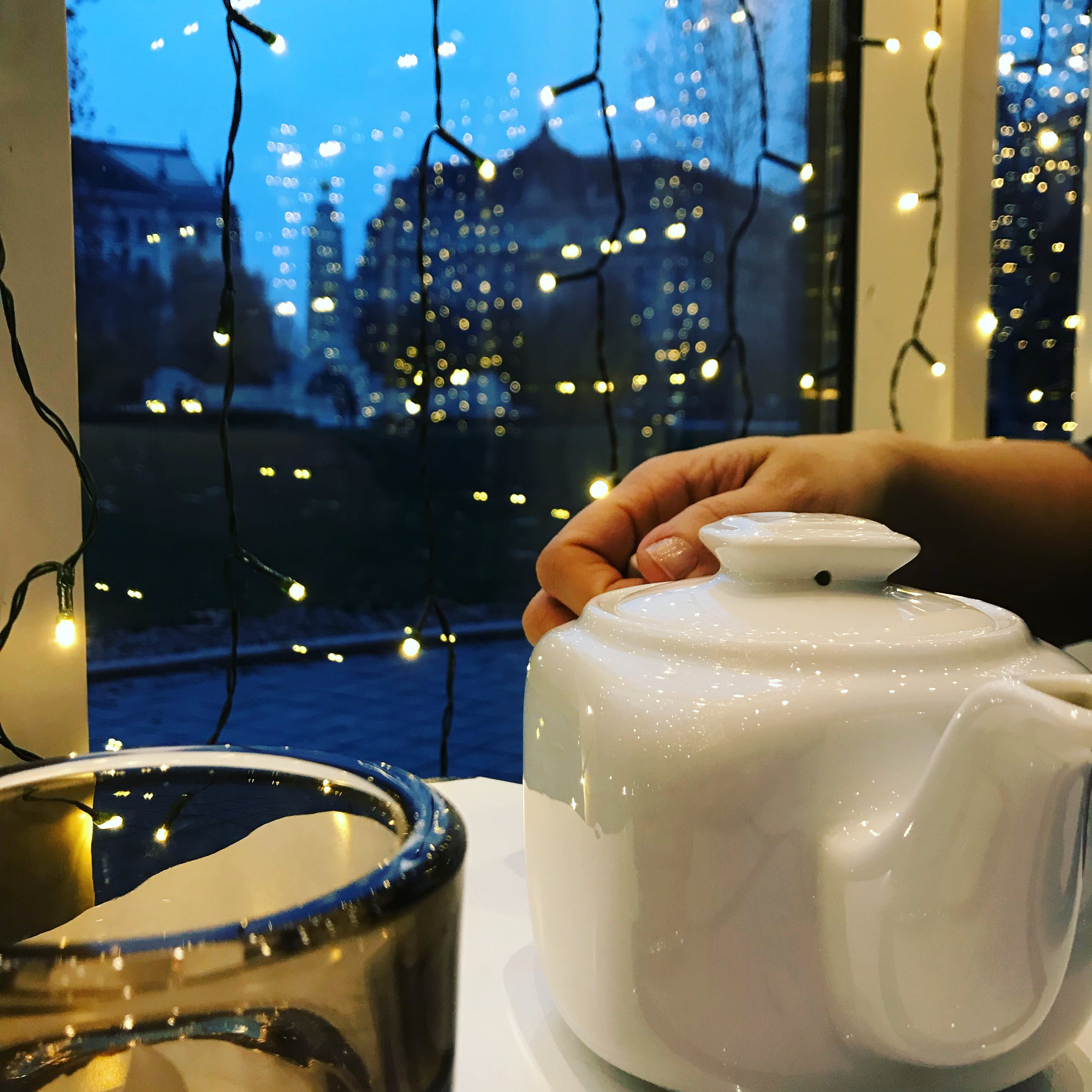 Free stock photo of hand, lights, winter, café