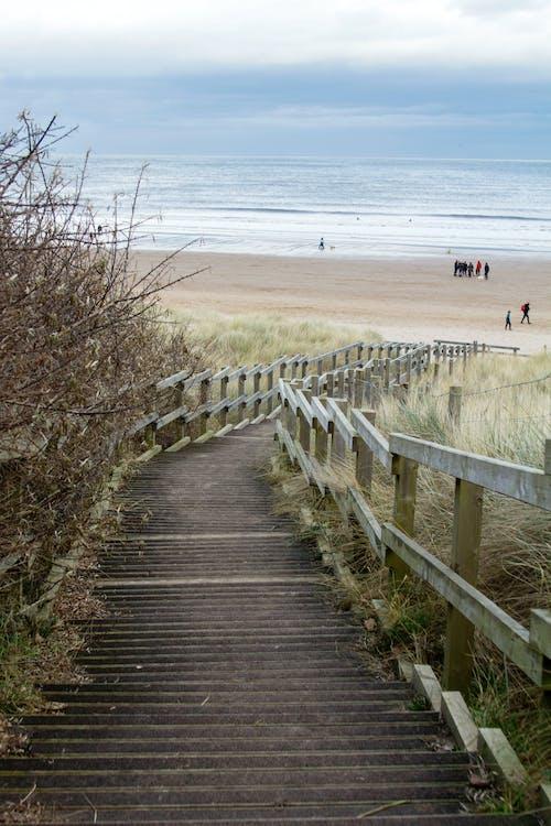 берег, волны, деревянный мост