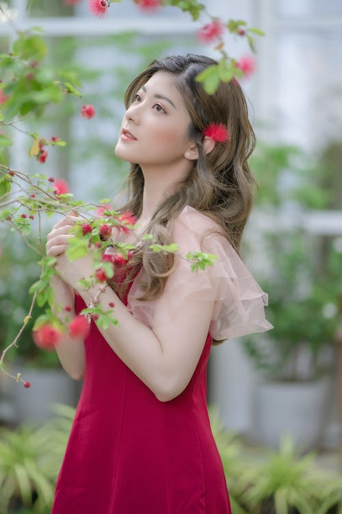 Woman in Red Dress Holding Pink Flowers