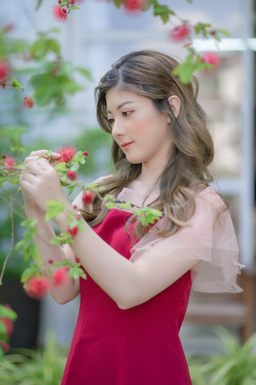 Woman in Red Dress Holding Pink Flower