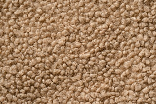 Top view closeup of fibers of soft natural wool carpet as abstract background
