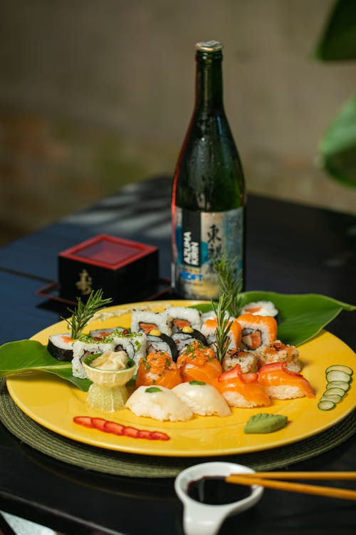 A Variety of Sushi on a Plate