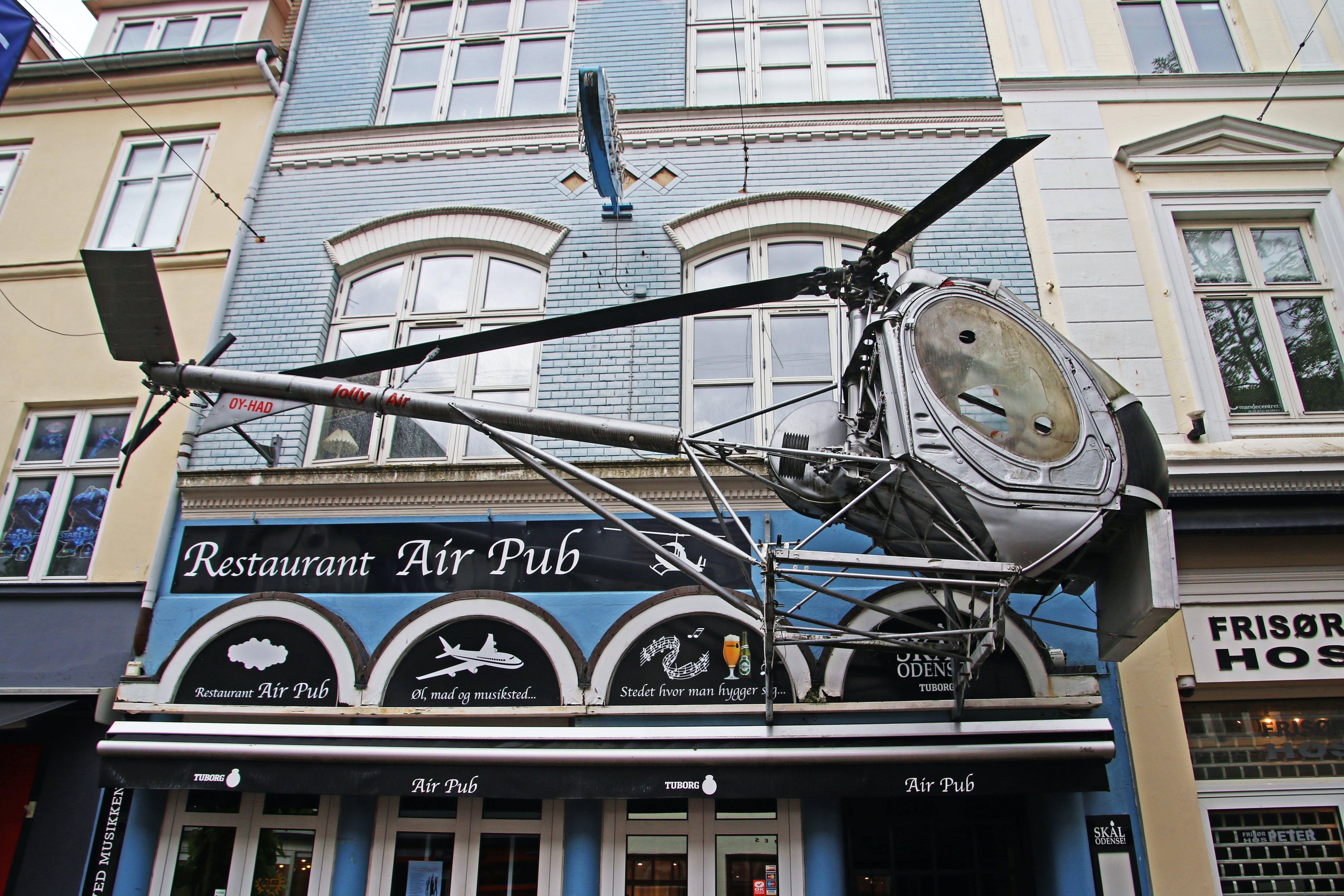 Free stock photo of denmark, helicopter, pub, restaurant