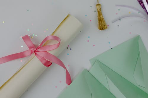 Pink Gift Box With Green Ribbon
