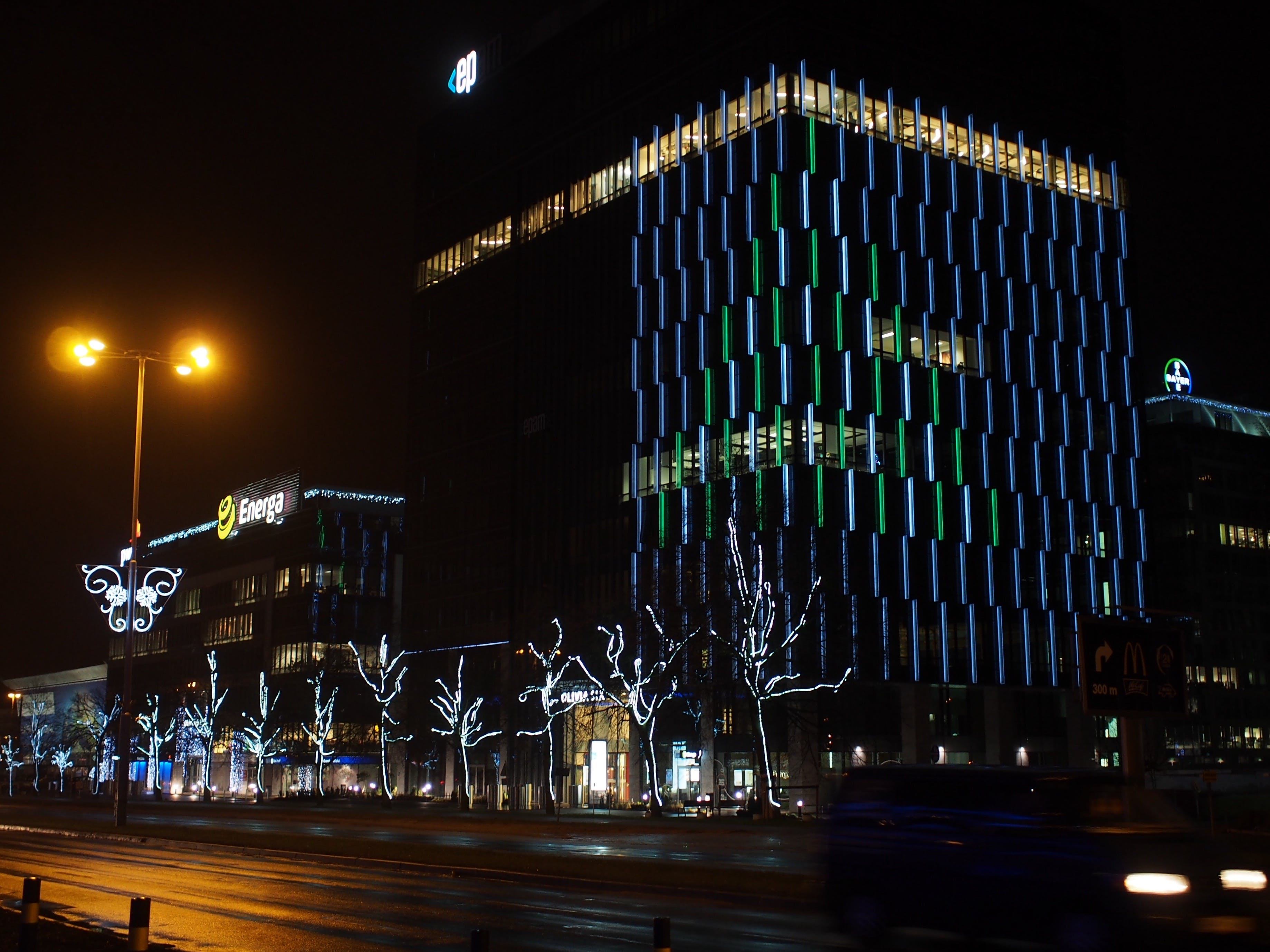 Free stock photo of building, christmas tree, lights, offices