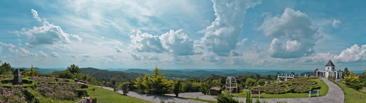 anläggning, berg, blå himmel