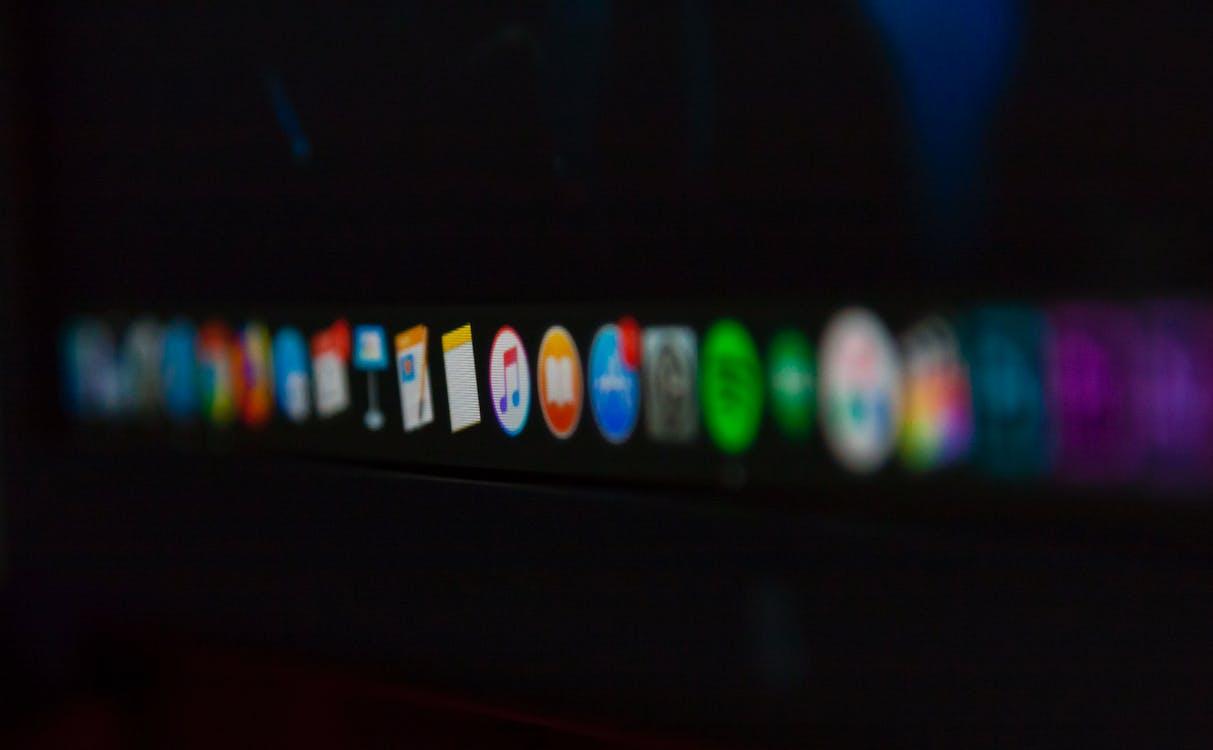 Free stock photo of apple, dock, icons